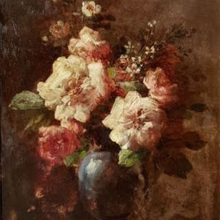 Eugène Petit (1839-1886) - Nature morte au bouquet de roses