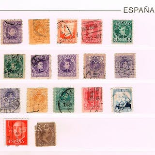 Spanien 1905/1950 - Postal History - Malaga - 17 stamps +14 pieces