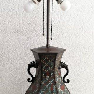 Vase mit Lampe - Cloisonne Emaille - Japan - Anfang des 20. Jahrhunderts