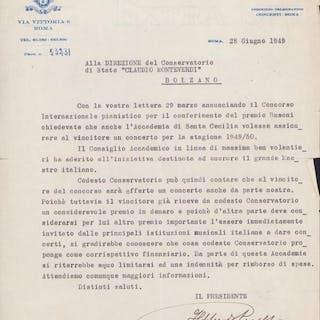 Ildebrando Pizzetti Composer - Autograph; Letter for...