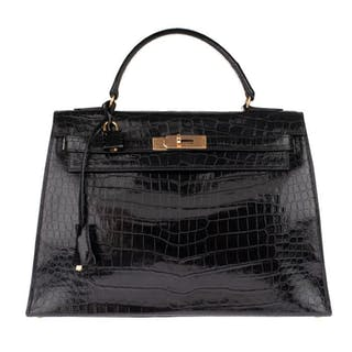 Hermès - Kelly 32 en cuir de Crocodile Porosus noir Handtasche