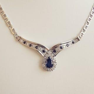 18 kt. White gold - Necklace - 1.30 ct Sapphire - Diamonds
