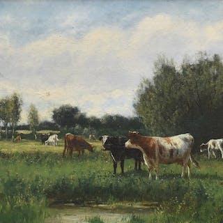 William F. Hulk (1852-c.1906) - Weidelandschap met vee