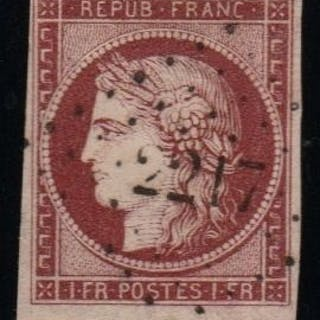 Francia 1849 - Ceres, 1 franc carmine, Republic with neighbour - Yvert N°6