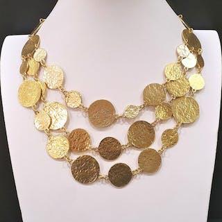 RALPH LAUREN Fabelhafte, 18 Karat vergoldete Halskette mit mehreren Scheiben.