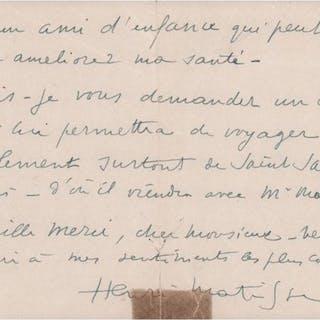 Henri Matisse - Lettre autographe signée - 1945
