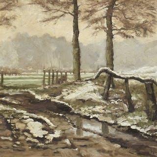 H. Ley..(20e eeuw) - Besneeuwd winterlandschap