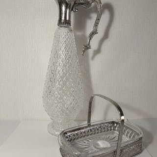 Decanter, Sweetmeat dish (2) - Silverplate - Spain - Second half 20th century
