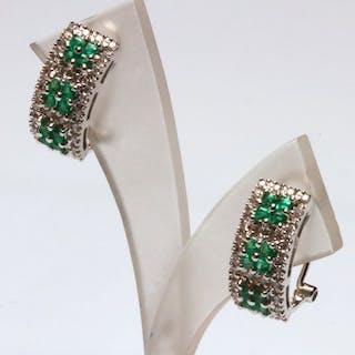 18 kt. White gold - Earrings - Diamonds, Emeralds