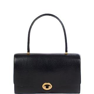 Hermès - Boutonnière en lézard Varanus Niloticus noir Handtasche