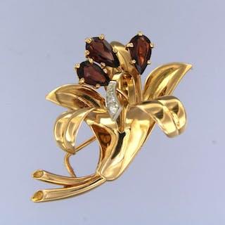 18 kt Gelbgold, Weißgold - Brosche Granat - Diamant