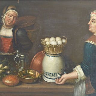 Continental school (18th century) - A couple by a table with basket of eggs