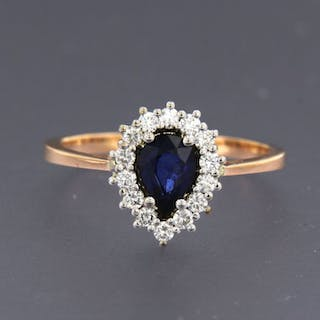 18 kt. Pink gold, White gold - Ring - 0.72 ct Sapphire - Diamond
