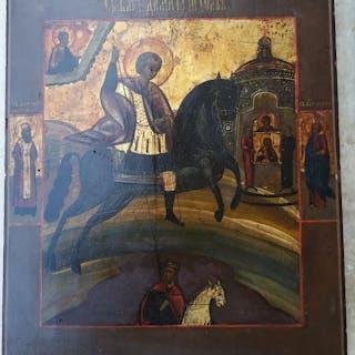 Icon Miracle of Saint Demetrius - Painted on wood - Mid-19th century