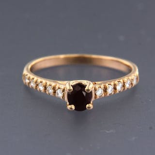 18 kt. Pink gold - Ring - 0.58 ct Ruby - Diamond