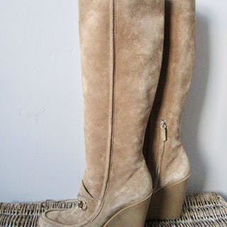 c3386b979 Gucci - Horsebit Suede Leather Wedge BootsBoots - Size: IT 38.5, EU 38.5