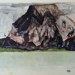 Egon Schiele (1890 - 1918) - 2 Prints; Mittagskogel bei...