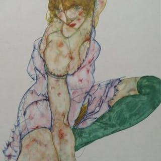 Egon Schiele (1890 - 1918) - Mädchen mit grünen Strümpfen 1914 - 1949