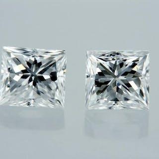 2 pcs Diamonds - 0.98 ct - Princess - E - VVS1