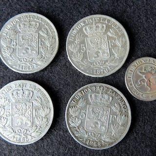 Belgien - 20 Cents en 5Francs 1861 tot 1870 - 5 stuks - Silber
