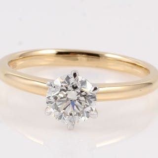 18 kt. White gold, Yellow gold - Ring - 1.06 ct Diamond