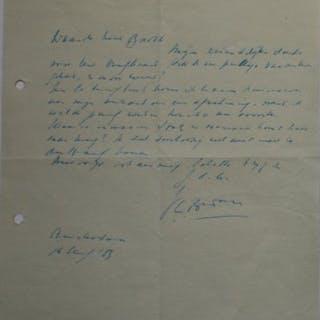 J.C. Bloem (1887/1966) - Brief aan zijn uitgever - 1953