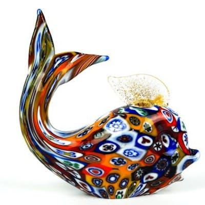 Livio Campanella Murano Murrina Whale Fish Sculpture Millefiori Glass Barnebys