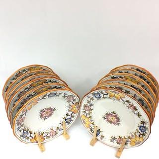 Grazia Deruta - 6 piatti e 6 ciotole (12) - Maiolica (vetrina con piombo)