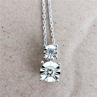 14 kt. White gold - Necklace with pendant - 0.16 ct Diamond