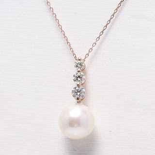 Other - 14 kt. Pink gold - Pendant - 0.50 ct Pearls and diamonds - Diamond