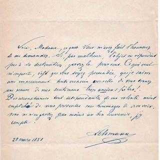 Henri Lehmann - 4 lettres autographes manuscrites signées  - 1847/1851