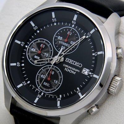 """Seiko - Chronograph """"Black Dial"""" 100M Leather- """"NO..."""
