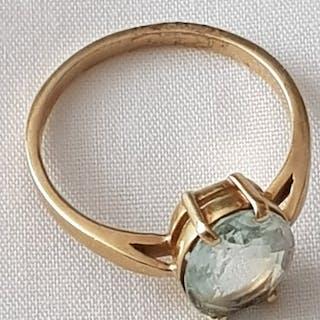 14 quilates Oro - Sortija de mujer con piedra facetada clara, años sesenta.