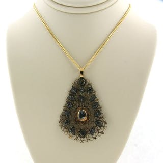 14 kt. Silver, Yellow gold - Necklace - 0.30 ct Diamond