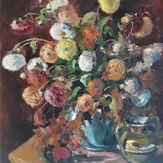 R. Michiels - Vase de fleurs et cruche