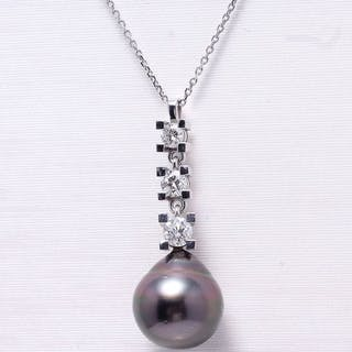 Other - 14 kt. White gold - Pendant - 0.50 ct Pearls and diamonds - Diamond