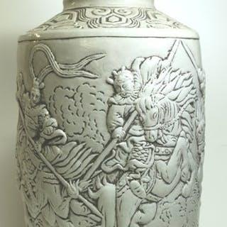 Vaso di grandi dimensioni bianco - Porcellana - Cina - Fine XX secolo