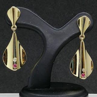 18 quilates Oro - Pendientes - 0.05 ct Rubí - Diamantes