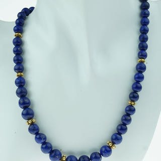18 kt. Yellow gold - Necklace Vintage - Lapis Lazuli with golden clasp