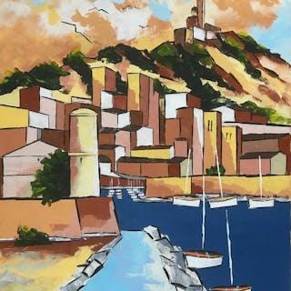 Jiel - Entrée du port de Marseille au soleil couchant