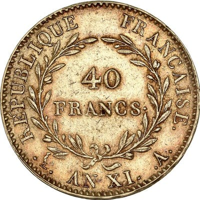 France - 40 Francs An XI-A (Paris) Bonaparte Premier Consul - Or