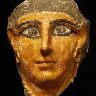 Ancient Egyptian Cartonnage Rare Mummy Mask Roman Period - 19.5×14.5×0 cm - (1)