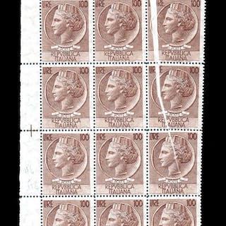 Italien Republik - Siracusana - 100 Lire block of 12 with 'bellows' paper fold