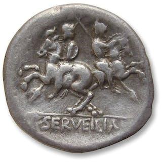 Roman Republic - AR Denarius, C. Servilius M.f., Rome 136 B.C. - Silver