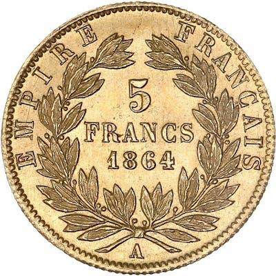 France - 5 Francs  1864-A Napoléon III - Or