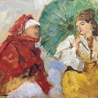 Ettore Cercone (1850-1901) - La dama con l'ombrellino