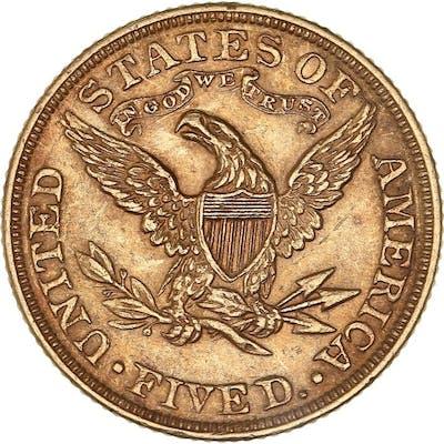 États-Unis - 5 Dollars 1893 Liberty Head - Or