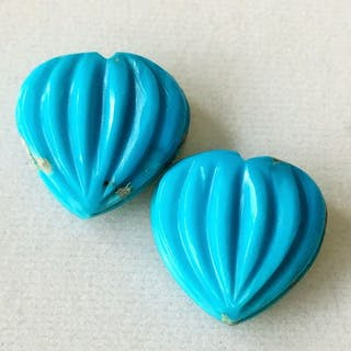 2 pcs Sky blue Turquoise - 25.37 ct