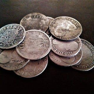 Spanien - 2 Reales 1773-1808 Carlos III-IIII(10 piezas) - Silber
