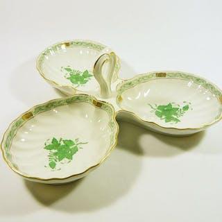 Herend - Piatto triplo verde cinese Apponyi con bouquet di fiori - 29 cm